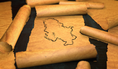 unfolding: Serbia Map Drawing Unfolding Old Paper Scroll 3D