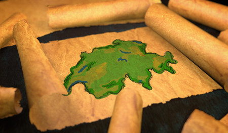 unfolding: Switzerland Map Painting Unfolding Old Paper Scroll 3D
