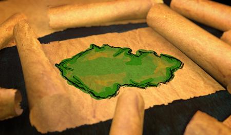 unfolding: Czech Republic Map Painting Unfolding Old Paper Scroll 3D Stock Photo