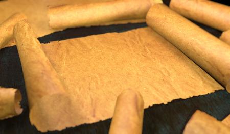 unfolding: Unfolding Old Paper Scroll 3D