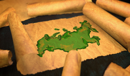 unfolding: Russia Map Painting Unfolding Old Paper Scroll 3D Stock Photo