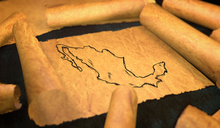 manuscript: Mexico Map Drawing Unfolding Old Paper Scroll 3D