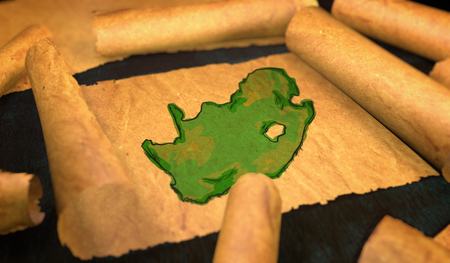 unfolding: South Africa Map Painting Unfolding Old Paper Scroll 3D