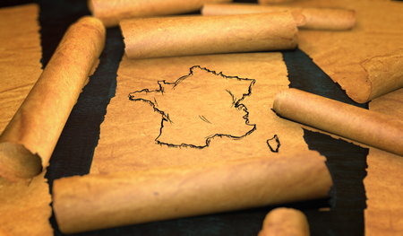 unfolding: France Map Drawing Unfolding Old Paper Scroll 3D Stock Photo