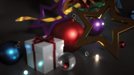 glow in the dark: Christmas Ornament Bokeh Glow Dark Background 3D Rendering