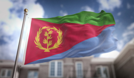 Eritrea Flag 3D Rendering on Blue Sky Building Background