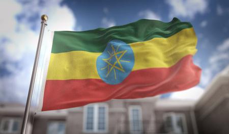 national flag ethiopia: Ethiopia Flag 3D Rendering on Blue Sky Building Background