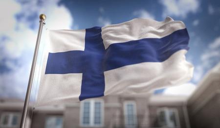 青い空ビルの背景にフィンランド フラグ 3 D レンダリング