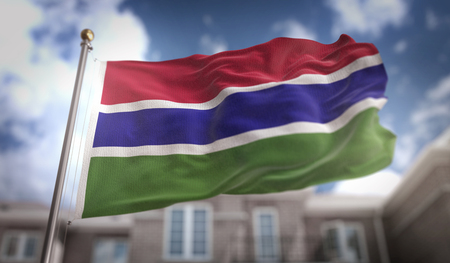 The Gambia  Flag 3D Rendering on Blue Sky Building Background