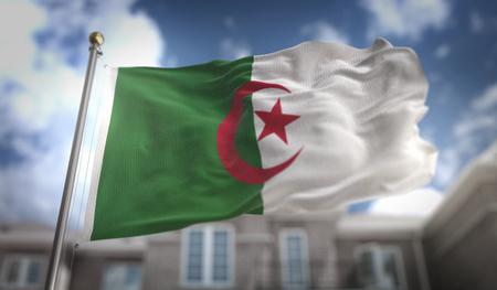 Algeria Flag 3D Rendering on Blue Sky Building Background Stock Photo