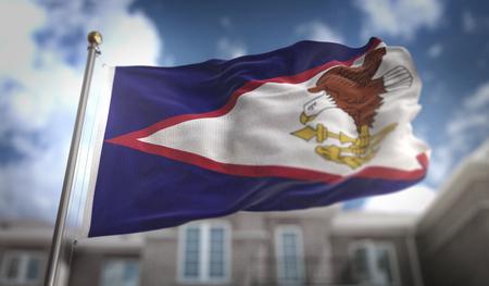 American Samoa Flag 3D Rendering on Blue Sky Building Background