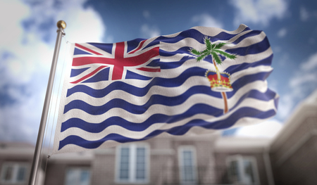 British Indian Ocean Territory Flag 3D Rendering on Blue Sky Building Background