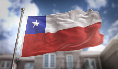 bandera chilena: Representación 3D de bandera de Chile en el fondo del edificio de cielo azul Foto de archivo