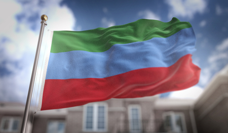 dagestan: Republic of Dagestan Flag 3D Rendering on Blue Sky Building Background