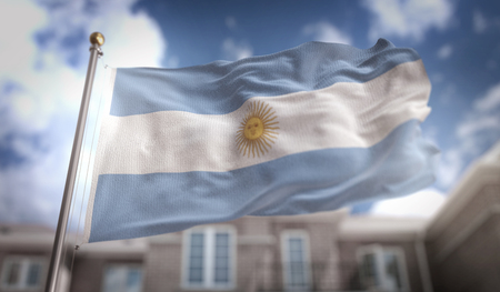 Argentina Flag 3D Rendering on Blue Sky Building Background Stok Fotoğraf