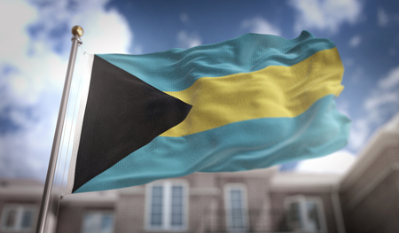 The Bahamas Flag 3D Rendering on Blue Sky Building Background