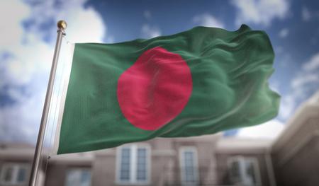 Bangladesh Flag 3D Rendering on Blue Sky Building Background