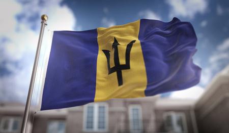 Barbados Flag 3D Rendering on Blue Sky Building Background