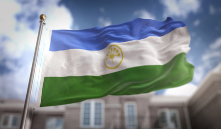 Bashkortostan Flag 3D Rendering on Blue Sky Building Background