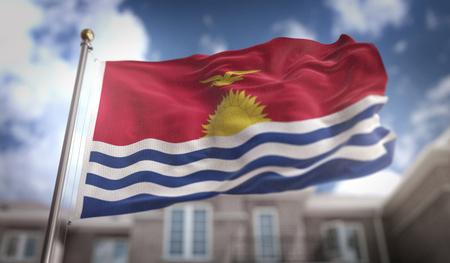 Kiribati Flag 3D Rendering on Blue Sky Building Background