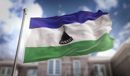 Lesotho Flag 3D Rendering on Blue Sky Building Background Stock Photo