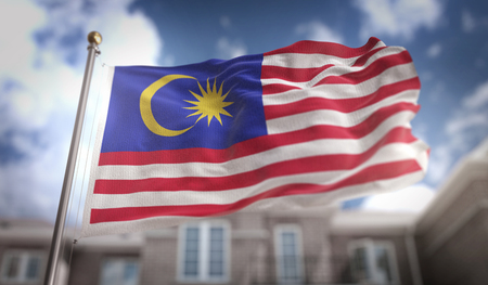 Malaysia Flag 3D Rendering on Blue Sky Building Background Stock Photo