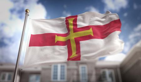 Guernsey Flag 3D Rendering on Blue Sky Building Background