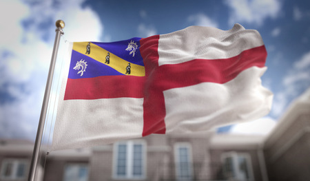 Herm Flag 3D Rendering on Blue Sky Building Background