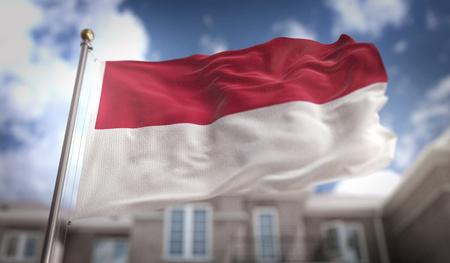 青い空ビルの背景にインドネシア国旗 3 D レンダリング 写真素材