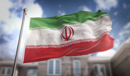 Iran Flag 3D Rendering on Blue Sky Building Background Stock Photo
