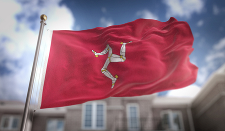 Isle of Man Flag 3D Rendering on Blue Sky Building Background Stock Photo