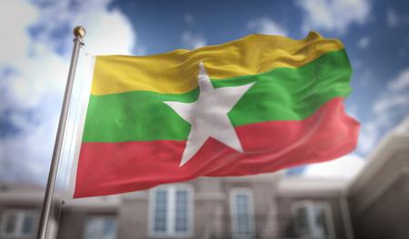 青い空ビルの背景にミャンマー国旗 3 D レンダリング