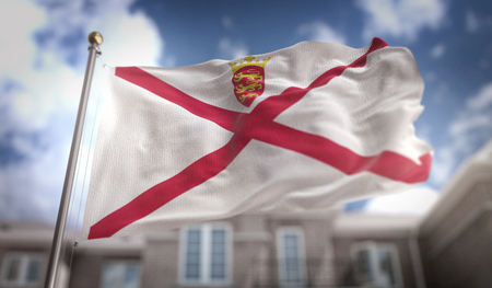 Jersey Flag 3D Rendering on Blue Sky Building Background