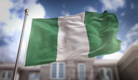 Nigeria Flag 3D Rendering on Blue Sky Building Background Stock Photo