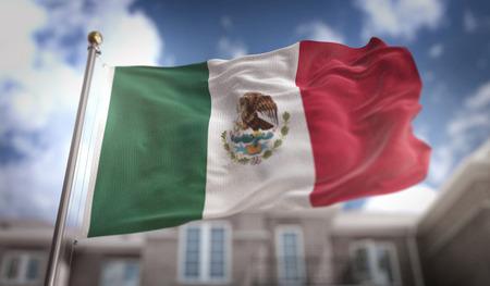 メキシコ旗青い空ビルの背景に 3 D レンダリング