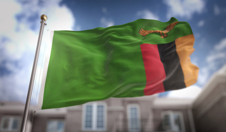 Zambia Flag 3D Rendering on Blue Sky Building Background Stock Photo