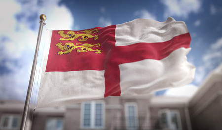 Sark Flag 3D Rendering on Blue Sky Building Background Stock Photo