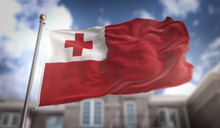 Tonga Flag 3D Rendering on Blue Sky Building Background Stock Photo