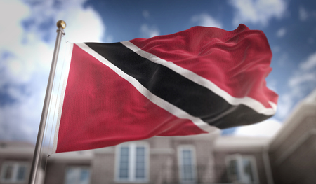 Trinidad and Tobago Flag 3D Rendering on Blue Sky Building Background