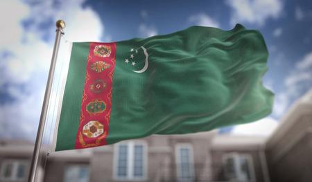 Turkmenistan Flag 3D Rendering on Blue Sky Building Background Stock Photo