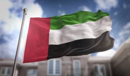 United Arab Emirates Flag 3D Rendering on Blue Sky Building Background