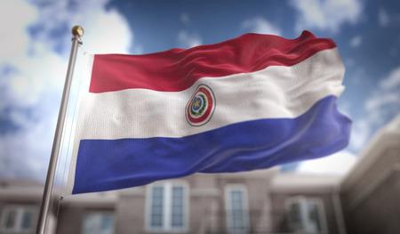 bandera de paraguay: Representación 3D de la bandera de Paraguay en el fondo del edificio del cielo azul Foto de archivo