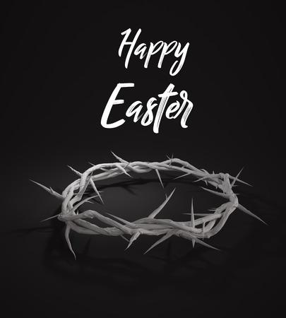 viernes santo: Feliz Pascua Corona de espinas Representación 3D Fondo oscuro