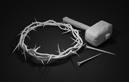 viernes santo: Crucifixión de Jesucristo - cruz con martillo clavos y corona de espinas Representación 3D fondo oscuro