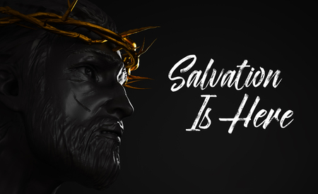 Salvation is Here Jesus Christ Statue with Gold Crown of Thorns 3D Rendering Side Angle Stock Photo