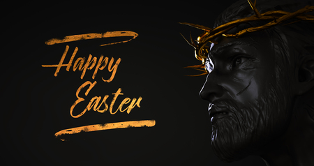 Happy Easter Text Jesus Christ Statue with Gold Crown of Thorns 3D Rendering Side Angle