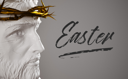 Easter Text Porcelain Jesus Christ Statue with Gold Crown of Thorns 3D Rendering Side Angle Imagens - 76427689