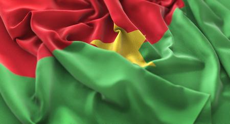 Burkina Faso Flag Ruffled Beautifully Waving Macro Close-Up Shot