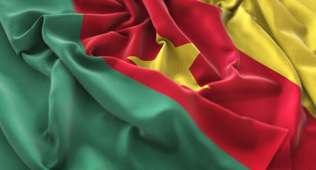 Cameroon Flag Ruffled Beautifully Waving Macro Close-Up Shot