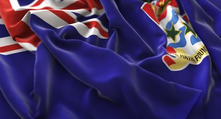 Cayman Islands Flag Ruffled Beautifully Waving Macro Close-Up Shot